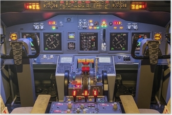 Poster Cabina di guida di un simulatore di volo in casa - Boeing 737/800