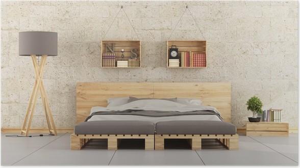 Poster Camera da letto moderna con letto pallet sul muro di mattoni ...