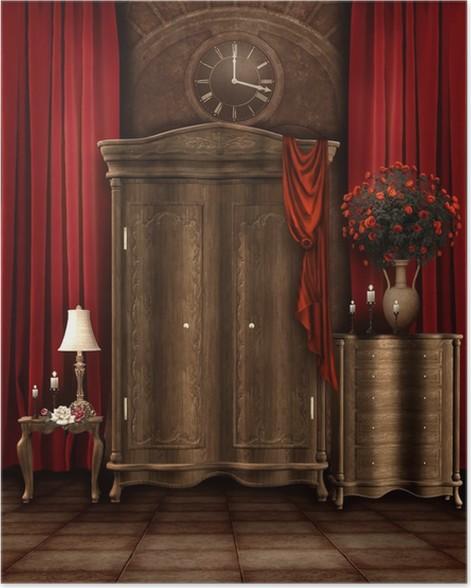Poster Camera da letto retrò con un armadio e un orologio • Pixers ...