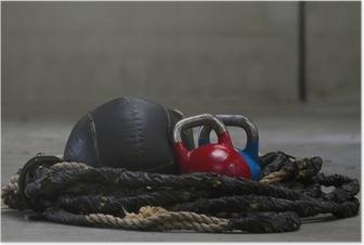 Poster Campane bollitore, corda e una palla medica utilizzati per CrossFit
