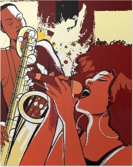 Poster Cantante jazz e sassofonista su sfondo grunge