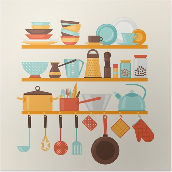 Poster Card con mensole della cucina e utensili da cucina in stile ...