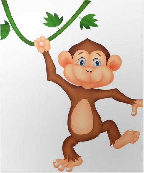 Poster carino cartone animato scimmia appesa pixers