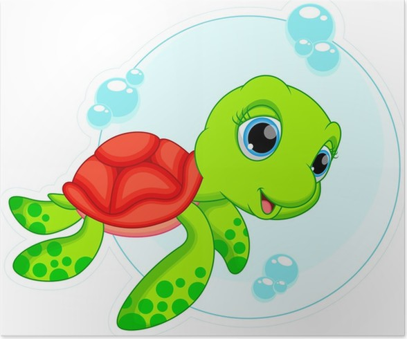 Poster carino cartone animato tartaruga pixers