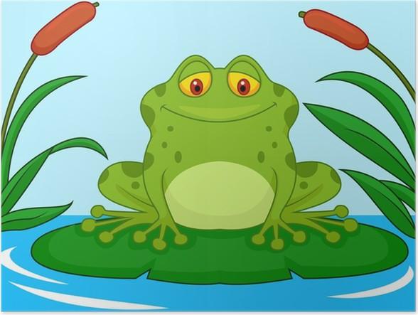 Poster carino rana cartone animato verde su una foglia di