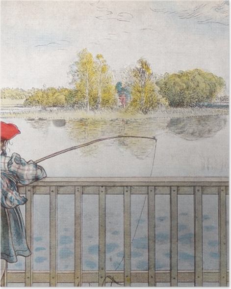 Poster Carl Larsson - Lisbeth fischt - Reproductions