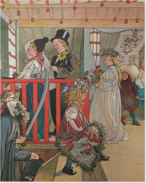 Poster Carl Larsson - Namenstag im Schuppen - Reproductions