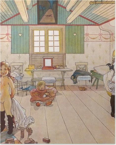 Poster Carl Larsson - Schlafzimmer von Müttern und Mädchen - Reproductions