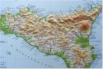 Cartina Geografica Stradale Della Sicilia.Carta Geografica Della Sicilia