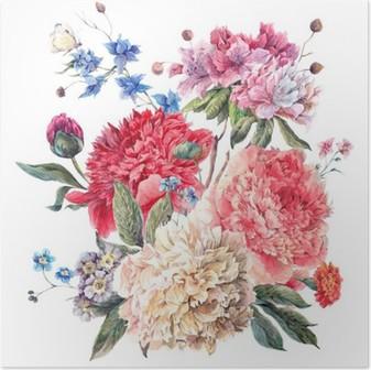 Poster Cartolina d'auguri floreale Vintage con fioritura Peonie
