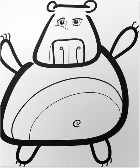 Poster Cartoon Grizzlybären zum Einfärben • Pixers® - Wir leben, um ...