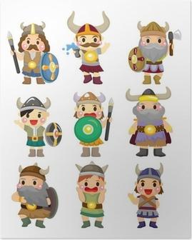 Poster Cartoon Viking Pirate-Symbol gesetzt.
