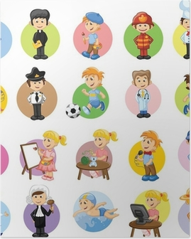 Poster Cartoon Zeichen von verschiedenen Berufen