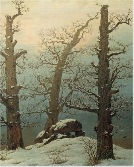 Poster Caspar David Friedrich - Hühnengrab im Schnee - Reproductions
