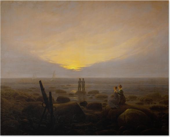 Poster Caspar David Friedrich - Lo spuntare della luna sopra il mare - Reproductions