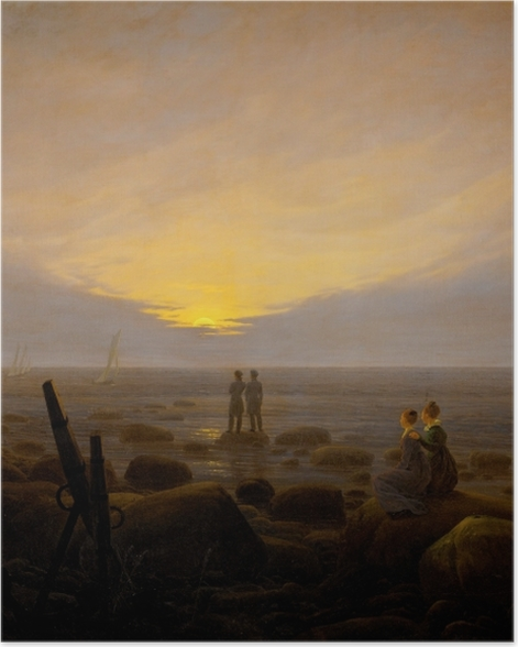 Poster Caspar David Friedrich - Mondaufgang über dem Meer - Reproductions
