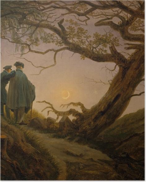 Poster Caspar David Friedrich - Zwei Männer in Betrachtung des Mondes - Reproductions