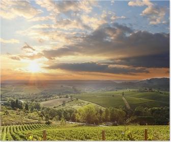 Poster Chianti paesaggio vigneto in Toscana, Italia