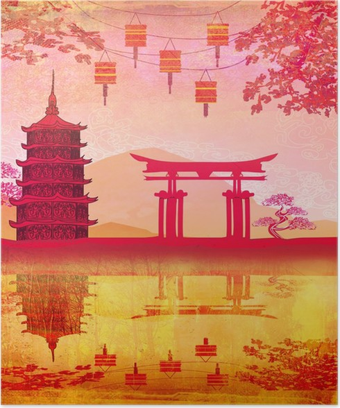 Poster Chinese New Year-Karte - traditionelle Laternen und ...