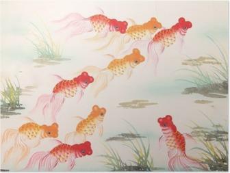 Poster Chinesische Goldfisch Malerei
