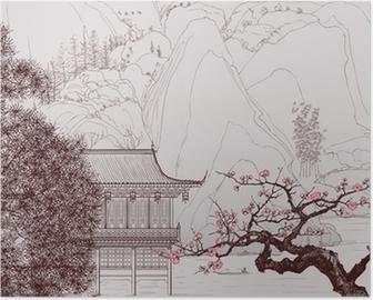 Poster Chinesische Landschaft