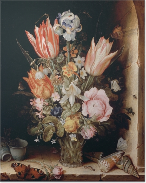 Poster Christoffel van den Berghe - Still Life with Flowers in a Vase - Reproduktion