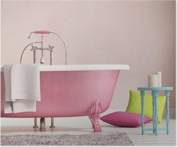 Poster Classica vasca da bagno rosa con uno sgabello e pavimento in ...