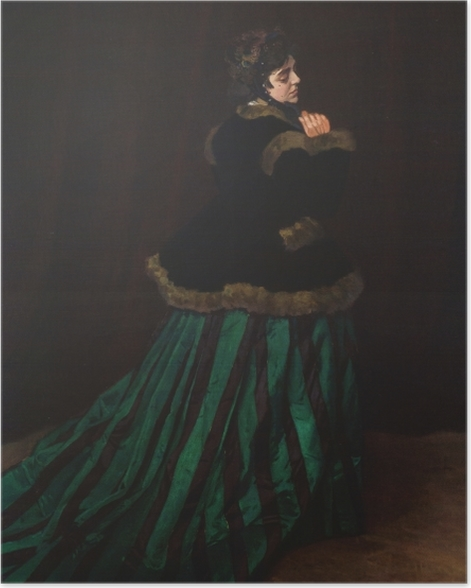 Poster Claude Monet - Camille im grünen Kleid - Reproduktion