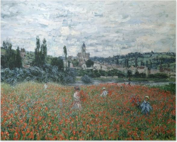 Poster Claude Monet - Campo di papaveri vicino a Argenteuil - Riproduzioni