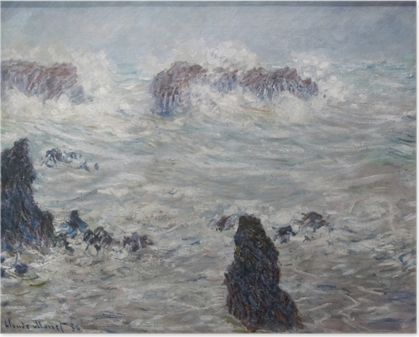Poster Claude Monet - Sturm an der Küste von Belle-Île - Reproduktion