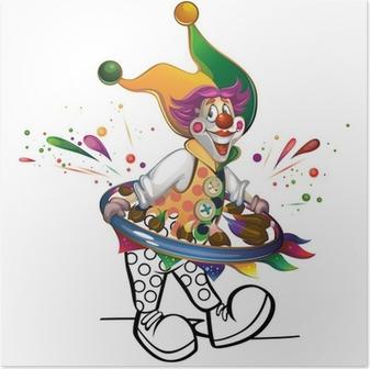 Poster Clown malt sich selbst