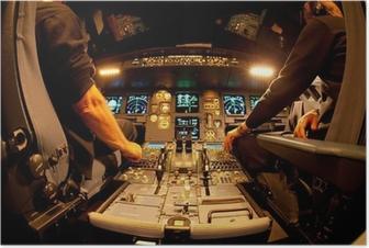 Poster Cockpit bei Nacht