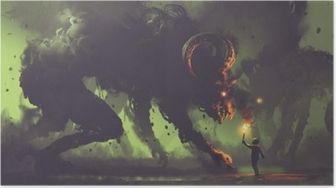 Poster Concetto di fantasia oscura che mostra il ragazzo con una torcia di fronte a mostri di fumo con le corna del demone, stile di arte digitale, illustrazione pittura