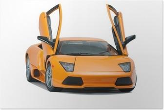 Poster Da collezione giocattolo modello Lamborghini vista frontale
