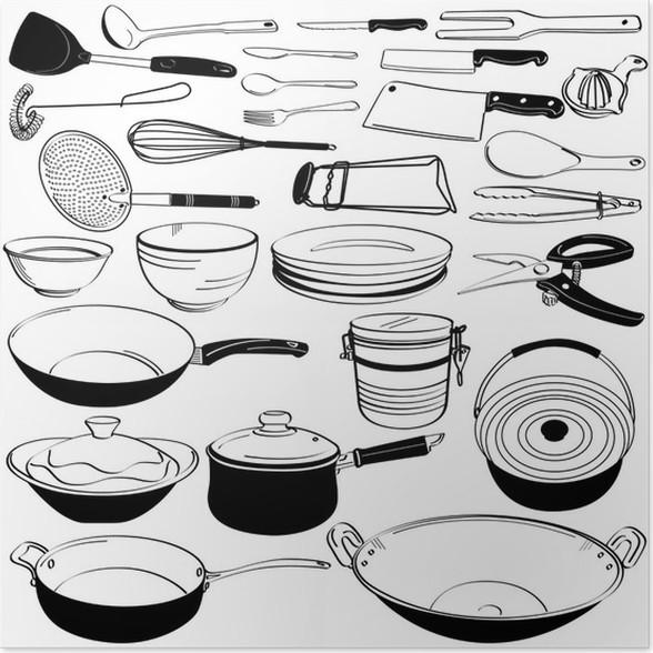 Poster Da cucina, Attrezzatura Utensile Doodle Sketch • Pixers ...