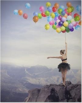 Poster Dancer mit Luftballons