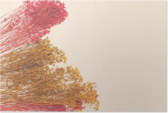Poster Dekorative kleine Blumen mit Hand bemalt. Raum für den Designer, Platz für Text
