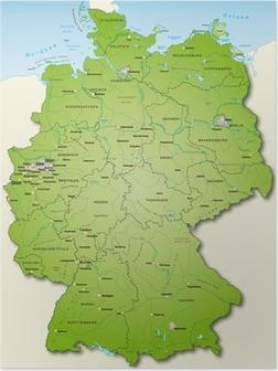 Poster Deutschland Übersichtskarte grün 40cm x 52cm