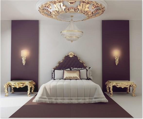 Poster Di lusso camera da letto matrimoniale con mobili d\'oro in ...