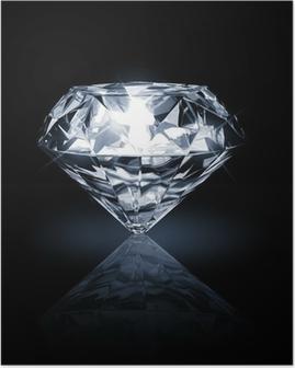 Poster Diamant auf dunklem Hintergrund