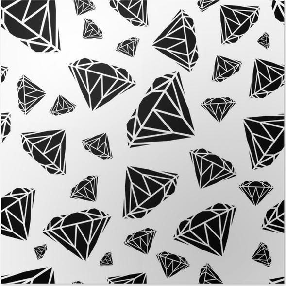 Poster Diamanten nahtlose Muster. Vektor-Muster mit Diamanten ...