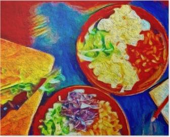 Poster Digitale bunte Kunstmalerei. Poster mit Speisen, ideal für Dekorationscafés oder Restaurants.