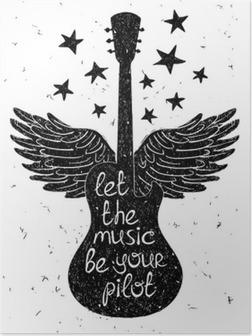 Poster Disegnata a mano illustrazione musicale con sagome di chitarra.