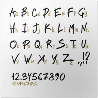Poster Disegnati a mano le lettere dell'alfabeto, in due facce (maiuscole e minuscole).