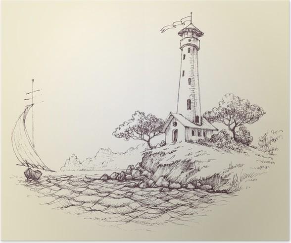 Poster disegno vettoriale faro paesaggio marino e barca a for Disegno paesaggio marino