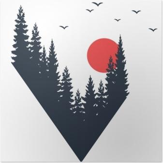 Poster Distintivo di viaggio disegnato a mano con alberi di abete con texture illustrazione vettoriale.