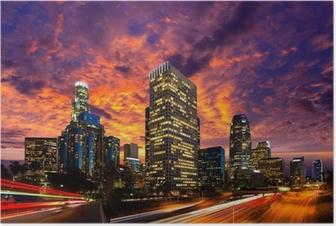 Poster Downtown LA Los Angeles Nacht sunset Skyline Kalifornien