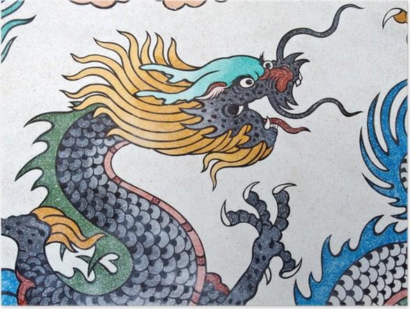 poster drache malerei kunst malerei chinesischen stils an der wand im tempel pixers wir. Black Bedroom Furniture Sets. Home Design Ideas