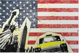 Poster Drapeau américain avec statue de la liberté di taxi jaune