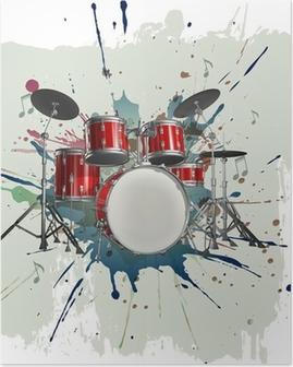 Poster Drum Kit auf Grunge-Hintergrund